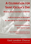 Image of concert flyer - A Celebration for Saint Cecilia's Day. Click image for more information and link to pdf of flyer.