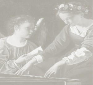 Black and white photo of painting of St Cecilia playing keyboard to yound angel
