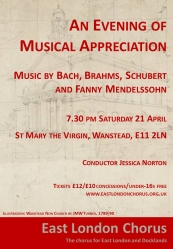 """Flyer for concert 21st April, """"An Evening of Musical Appreciation."""" Details are on the web page."""