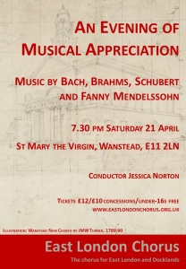 "Flyer for concert 21st April, ""An Evening of Musical Appreciation."" Details are on the web page."